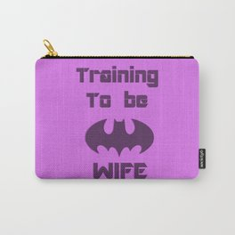 """Training to be The """"Bat"""" wife, funny comic related t-shirt design, purple 3d effect, cartoon artwork Carry-All Pouch"""