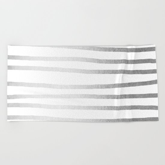 Simply Drawn Stripes Moonlight Silver Beach Towel