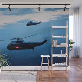 Support Helicopters Fly at Dusk Wall Mural