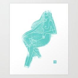 Seated Figure Blue Art Print