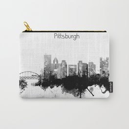 Black and White Pittsburgh City Skyline Carry-All Pouch