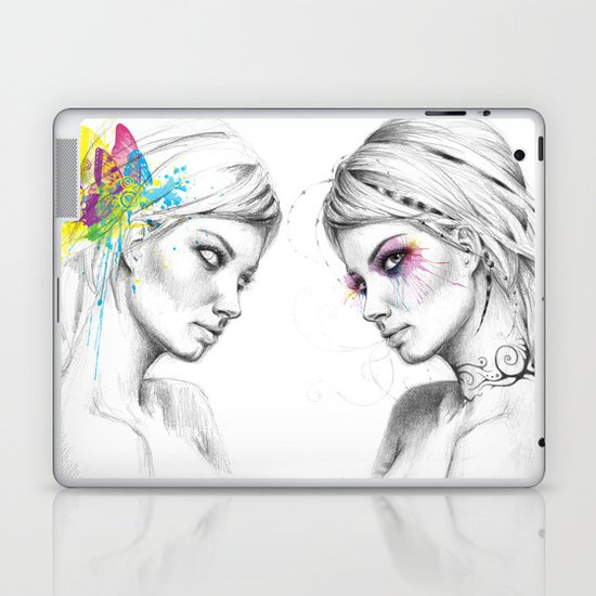 Beautiful Girl with Tattoos and Colorful Eyes Laptop & iPad Skin