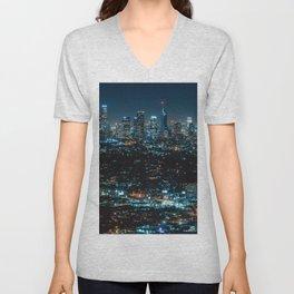 Los Angeles Skyline By Night United States Ultra HD Unisex V-Neck
