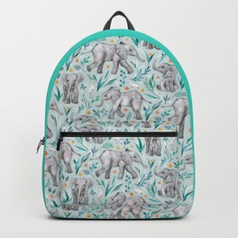Baby Elephants and Egrets in Watercolor - egg shell blue Backpack