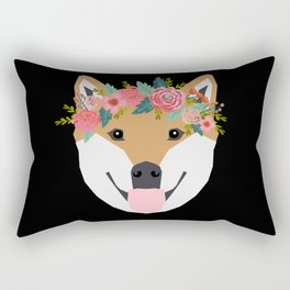 Shiba Inu floral crown dog with flowers pet art pure breed shiba inus Rectangular Pillow