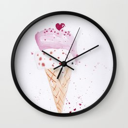 Ice cream Love watercolor illustration summer love pink strawberry Wall Clock
