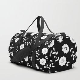 Black flowers Duffle Bag