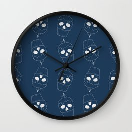 Skullcakes on blue Wall Clock