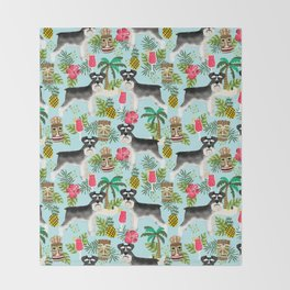 Schnauzer tiki pattern floral hibiscus floral flower pattern palm leaves Throw Blanket