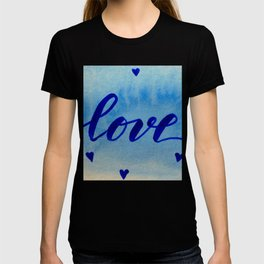Valentine's Day Watercolor Love - blue T-shirt