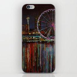 Seattle Wheel at Night iPhone Skin