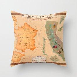 World of Wine Map Throw Pillow