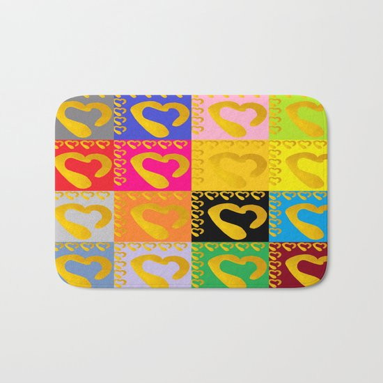 Gold Hearts on colorful Stamp Bath Mat