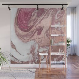 Rose Gold Pink White Painted Girly Abstract Marble Wall Mural