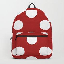 Large Polka Dots - White on Firebrick Red Backpack