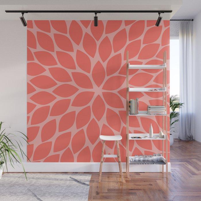 Coral Chrysanthemum Wall Mural
