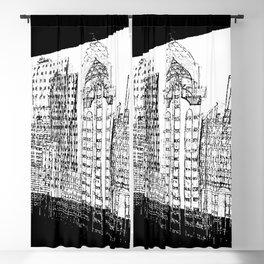 city 3d digital painted sketch Blackout Curtain