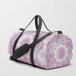 Dreams Mandala in Pink, Grey, Purple and White Duffle Bag