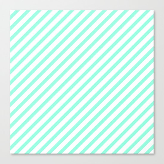 Elegant Mint & White Diagonal Stripes Canvas Print