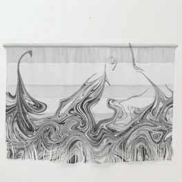 Modern contemporary Black and White Abstract Wall Hanging