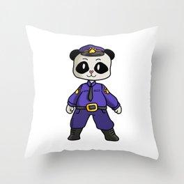 Police security panda bear cartoon children gift Throw Pillow