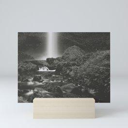 Latourell Falls Waterfall II - Black and White Mini Art Print