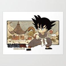 Son Goku On Mt. Paozu Art Print