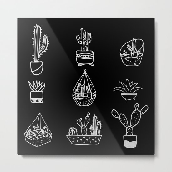 Minimalist Cacti Collection White on Black Metal Print
