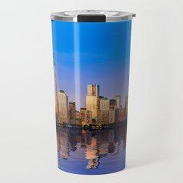 Reflection of Manhattan skyline at sunset Travel Mug