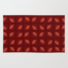 Red skies and falling leaves - Random leaf pattern in shades of red and orange Rug