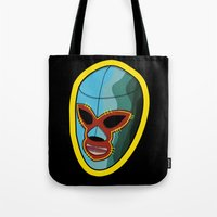 majoras mask Tote Bags featuring mask by mark ashkenazi