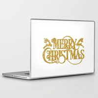 merry christmas Laptop & iPad Skins featuring Merry Christmas by Better HOME