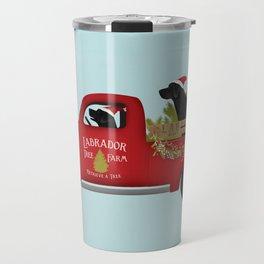 Black lab dog labrador christmas tree farm vintage red truck Travel Mug
