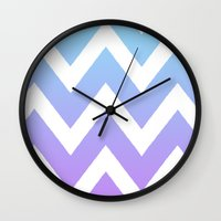 rileigh smirl Wall Clocks featuring Gradient Chevron by Rileigh Smirl