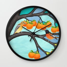B. orioles in the stained glass tree Wall Clock