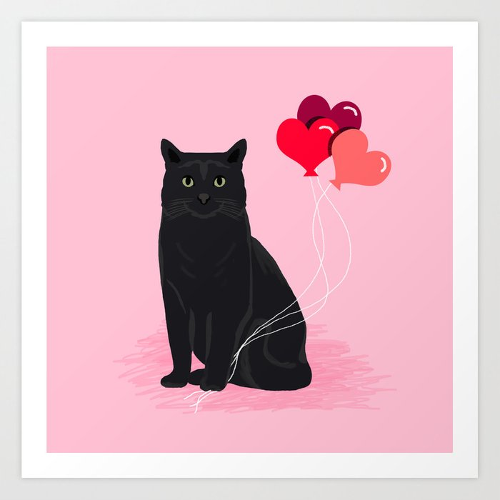 Black Cat valentines day balloons hearts cat breeds must have gifts valentine's day Kunstdrucke
