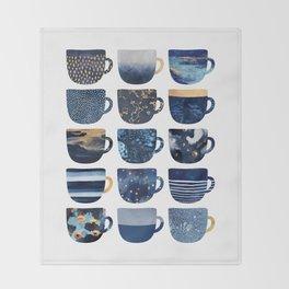 Pretty Blue Coffee Cups Throw Blanket