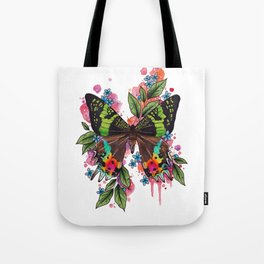 Neo Traditional Sunset Moth and flowers Tote Bag