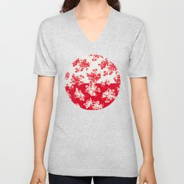 small bouquets in bright red with border Unisex V-Neck