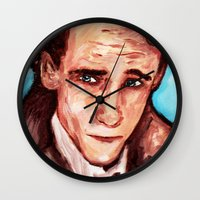 tom hiddleston Wall Clocks featuring Hiddleston by AlysIndigo