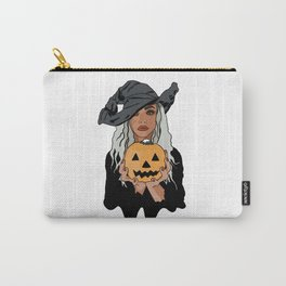 Woman in black witch costume holding Halloween pumpkin Carry-All Pouch