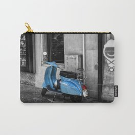 Blue Vespa in Venice Black and White Color Splash Photography Carry-All Pouch