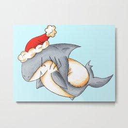 Santa Shark Metal Print