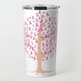 Breast Cancer Awareness Art For Warrior Women Dark Light Travel Mug