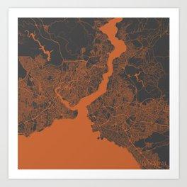 Istanbul Map orange Art Print