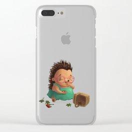 Ella the Hedgehog eating strawberries! Clear iPhone Case