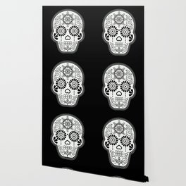 Día de Muertos Calavera • Mexican Sugar Skull – White on Black Palette Wallpaper