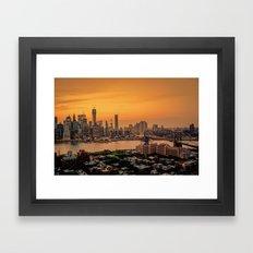 New York City - Skylines of Brooklyn and Manhattan Framed Art Print