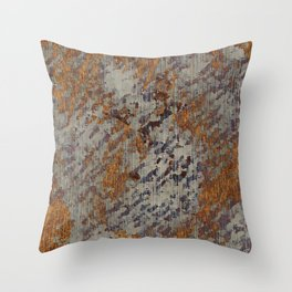 Graphic Grunge Orange and Grey Plaster Abstract Throw Pillow