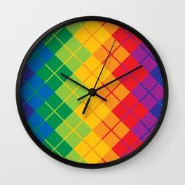 Rainbow Argyle Wall Clock